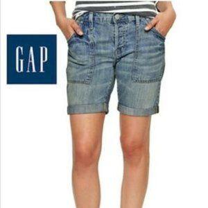 GAP Sexy Boyfriend Worker Shorts Blue Button Fly 2